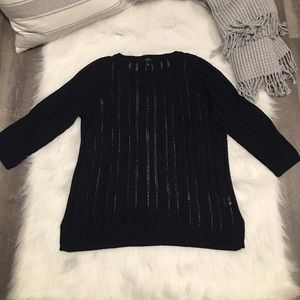 Talbots Navy Loose Knit Pullover Shirt Top